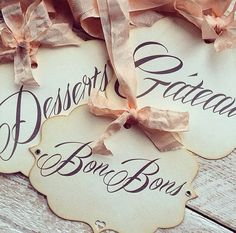 Set of 5 candy Buffet sign wedding sign vintage by LiziLoves, £16.99