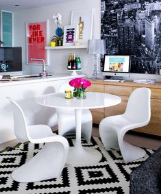 Ikea Docksta Table, Contemporary, dining room, Adore Magazine #FloatingShelvesBedroomAboveBed