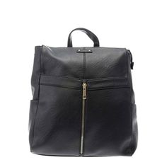 <P>Add some edge to your look and keep all your belongings together with this cool black urban style backpack. The backpack comes in black faux leather with gold zip detail at the front. The straps are adjustable and there is also a handy grab handle at the top. </P><UL><LI>Faux leather</LI><LI>Zip detail</LI><LI>Adjustable straps</LI></UL>