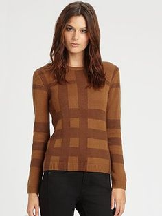 Burberry London Checked Wool/Cashmere Sweater