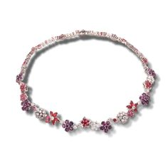 Folie des Prés necklace, white gold, round and marquise-cut pink sapphires, round, marquise-cut and pear-shaped mauve sapphires, round diamonds; diamond quality DEF, IF to VVS. About the collection: To celebrate the natural beauty of wildflowers, Van Cleef & Arpels has created the lively elegant Folie des Prés collection.