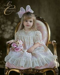 Adorable Ava is wearing style made with Swiss cotton batiste and Antique lace design by Mela Wilson. Vintage Girls Dresses, Little Girl Dresses, Flower Girl Dresses, Baby Girl White Dress, Baby Dress, Sewing Clothes, Doll Clothes, Christening Gowns, Heirloom Sewing
