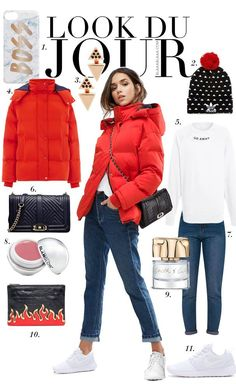 Look Du Jour: Hot Love. White message top+straight-leg jeans+white sneakers+red puffer jacket+black printed pompom beanie+black chain shoulder bag or black and red clutch. Winter Casual Outfit 2017