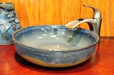 Stoneware Pottery Vessel Sink 12 inches in by cathysclaycreations