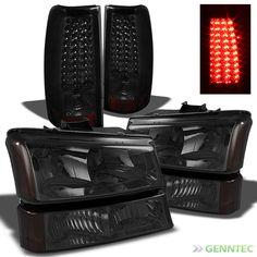 03-06 Silverado Smoked Headlights + Bumper + Smoked LED Perform Tail Lights Set