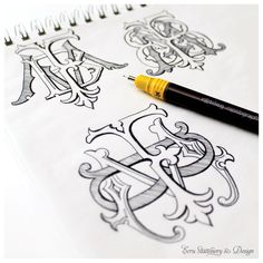 3 Letter Hand Drawn Monogram by ECRU Stationery Design2