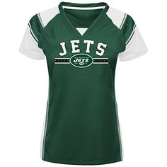NFL New York Jets Womens Short Sleeve Raglan VNeck Tee Dark GreenWhiteWhite Large -- More info could be found at the image url.