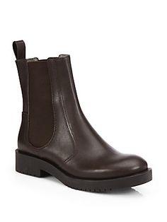 Jil Sander Navy Leather Ankle Boots