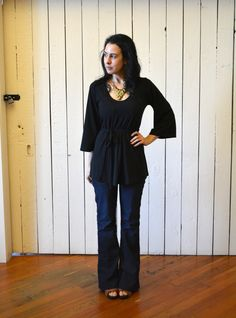 Kimono Sleeve Top Black, Bamboo Jersey, Women's Top, Modern Bohemian Style- made to order
