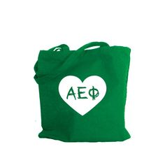 Alpha Epsilon Phi tote bag with large heart.  Shop #Aephi bag collection. #AlphaEpsilonPhi