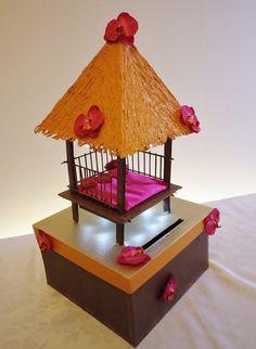 Urne de mariage paillote. Illuminée de l'intérieur. PERSONNALISABLE, chaque modèle est créé à la demande. Délais avant livraison, 1 mois.