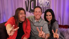 Jay Britton - voice of Talking Tom, voice actor Jay Britton, sharing some time with hosts Chuck Duran and Stacey J. Aswad