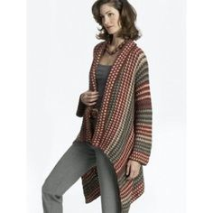 This intermediate crochet pattern creates a long jacket with a fashionable asymmetrical hem. This jacket crochet pattern also features a great pattern of colourful stripes. - Crochet and Knit Gilet Crochet, Crochet Coat, Crochet Cardigan Pattern, Crochet Jacket, Crochet Scarves, Crochet Shawl, Crochet Clothes, Crochet Sweaters, Sweater Patterns