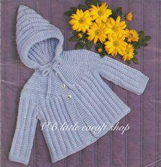 Baby's jacket with hood knitting pattern. by VBlittlecraftshop