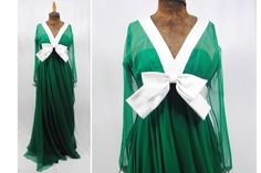 1970s 70s Vintage Malcolm Starr Rizkallah Bright Green Chiffon Dress Long Formal Gown with White Bow, Size Small by DallasVintageCouture on Etsy https://www.etsy.com/listing/242562486/1970s-70s-vintage-malcolm-starr