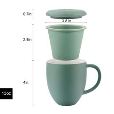 Sunddo Porcelain Tea Cup Single Ceramic Mug with Infuser Filter Steeper Brewing Loose Tea Cups with Coaster/Lid Gifts for Women Men Mom Dad Tea Lovers Green 13 OZ Loose Leaf Tea, Mom And Dad, Gifts For Women, Brewing, Tea Cups, Coasters, Porcelain, Ceramics, Canning