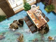 Sea Ocean Rocks 00040 Floor Decals 3D Wallpaper Wall Mural Stickers Print Art Bathroom Decor Living Room Kitchen Waterproof Business Home Office Gift