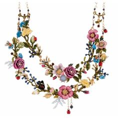 Les Néréides ORIENTAL ROSE BOUQUET OF AN ORIENTAL GARDEN TWO ROUGHS... ($653) ❤ liked on Polyvore featuring jewelry, necklaces, jewelry necklaces, multicolor, tri color necklace, multicolor necklace, honey bee necklace, bee necklace and rose necklace