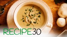 The best cream of mushroom soup recipe you will find. Perfect for those cold wintery days by the fire. Serve it with a grilled piece of toast coated with but. Mushroom Soup Without Cream, Vegan Soups, Vegetarian Recipes, Creamed Mushrooms, Stuffed Mushrooms, High Carb Fruits, Potato Diet, Mushroom Soup Recipes, Recipe 30