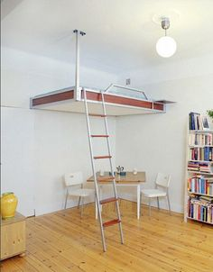 Of course, building out an entire section of a room is not a simple do-it-yourself project. There are other prefab solutions available, likeceiling-suspended beds that hang from heavy-duty supports tied in above (and reinforced by structural connections along adjacent walls)