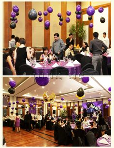 Purple, silver and black Masquerade themed holiday party at Swiss ...