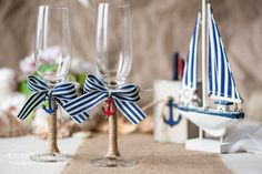 Nautical Wedding  glasses with anchor, bow, rope - beach wedding nautical  - Personalized
