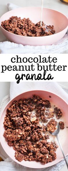 Chocolate Peanut Butter Granola is the perfect snack for adding to yogurt, smoothies, and ice cream, or eating alone with milk! Enjoy this delicious treat that's ready in less than an hour and is super simple to make. Peanut Butter Roll, Peanut Butter Granola, Chocolate Peanut Butter, Chocolate Granola, Chocolate Peanuts, Healthy Dessert Recipes, Breakfast Recipes, Vegan Breakfast, Breakfast Bites