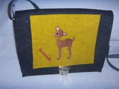 Mädchentasche,Beutelhuhn,Bambi,Reh,Wollfilz,anthrazit,gelb,Designfilz