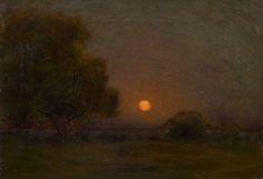 """""""Moon through the Trees,"""" Arthur Wesley Dow, ca. 1910, oil on canvas, 16 x 22"""", Spanierman Gallery."""