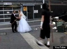 Most engaged couples experience obstacles on their way to the altar, but none as ridiculous as what Australian newlyweds Wendy Gowing and Gary Pore faced. The pair spent more than a month filming a wedding entrance video that included a Benny Hill-style race, a ninja battle, and short trip on a children's scooter and bicycle -- all in full wedding attire.