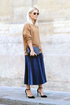 Bloglovin Blog Ways To Wear Pleated Skirt Neutral Sunglasses Camel Sweater Celine Trio Bag Cedric Charlier Midi Skirt Suede Ankle Strap Heels Jessie Bush Blogger Style Via We The People