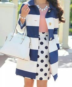 Navy coat. Blue and white stripes.