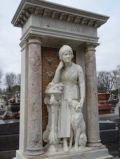 I love this monument of a beautiful 1930s style woman depicted with her dog. The dog often has lipstick on it's face as it gets kissed a lot! (Paris)