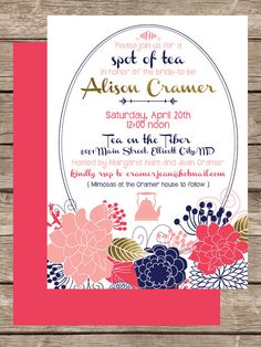 Tea Party Chic Floral Baby or Bridal Shower by meaganadair on Etsy, $20.00