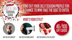 Take our quiz to find out your Silly Season style and enter for a chance to WIN! 40 X $100 gift cards to win  http://woobox.com/7zx6jy/cavx2e