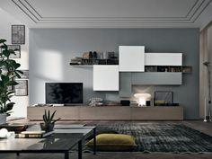 The modern living area of abita design srl / paolo vindigni modern Living Room Wall Units, Living Room Tv Unit Designs, Ikea Living Room, Living Room Modern, Interior Design Living Room, Living Spaces, Home Decor, Luxury Living, Ikea Design