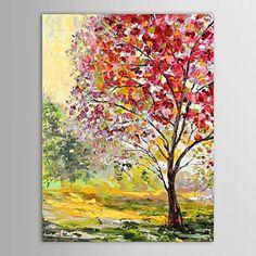 handgeschilderde olieverf landschap bomen in de herfst met gestrekte frame – EUR € 63.63
