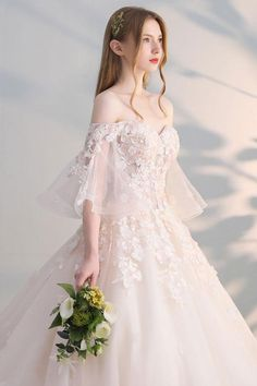 Elegant Champagne Wedding Dresses 2017 Ball Gown Off-The-Shoulder Sleeve Backless Appliques Flower Pearl Sequins Chapel Train Source by pamelalanto Dresses Western Wedding Dresses, Luxury Wedding Dress, Sexy Wedding Dresses, Elegant Dresses, Pretty Dresses, Bridal Dresses, Beautiful Dresses, Wedding Gowns, Prom Dresses