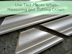 Mistake proof crown molding installation tips - use test pieces when measuring and cutting crown Door And Trim Paint, Wall Trim, Crown Molding Installation, Diy Home Repair, Wall Molding, Moldings And Trim, Painting Trim, Home Repairs, Home Reno