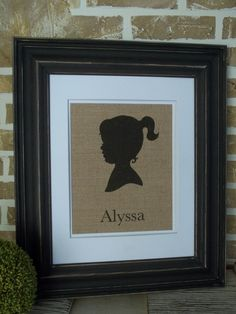 Burlap Print of Girl Silhouette with Name by SimplyFrenchMarket, $20.00