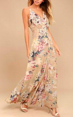Something Just Like This Beige Floral Print Maxi Dress via @bestmaxidress