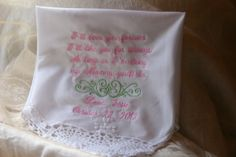 I'll Love You Forever  Crocheted Lace Handkerchief Gift by elgies, $22.00