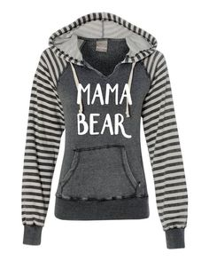 How cute is this Mama Bear Hoodie with contrasting striped sleeves from Elle A Tees!?  See more at theshopgal.com
