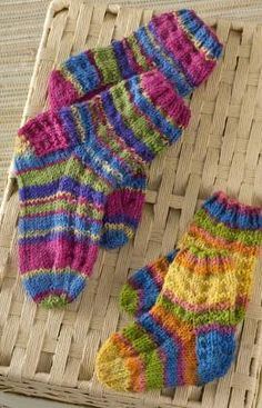 Colorful Knit Kids Socks Free Pattern from Red Heart Yarns