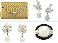 Items being offered at the Christie's Nancy Reagan sale being held in September. A gold and diamond evening bag worth at least $15,000, a mabé pearl, diamond and onyx Bulgari ring estimated at $5,000, a pair of $1,500 Ruser diamond ear clips, and a pair of at least $7,000 Van Cleef & Arpels diamond and platinum earrings.