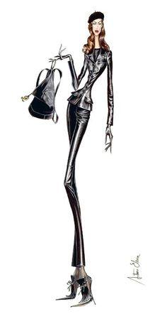 """ARTURO ELENA.""""Cuero negro"""". Una antigua ilustración para la marca española LOEWE (1995)"""