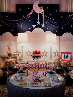 A Starry Night Slumber Party ... cute backdrop. navy/pink color scheme