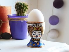 Egg cup hand painted