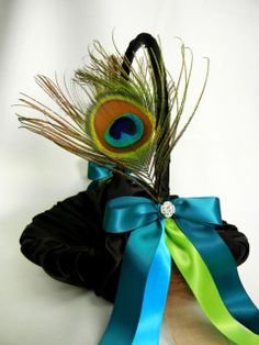 Black Silk Peacock Flower Basket or maybe armchair decoration bows for bridal aisle