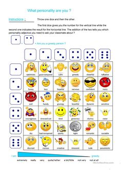 Personality dice game worksheet - Free ESL printable worksheets made by teachers